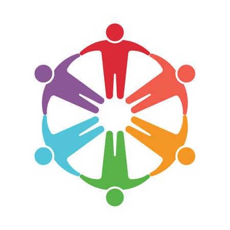 Ilustración de People logo. Group of six persons - Imagen libre de derechos