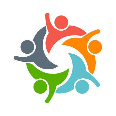 Foto de Teamwork People logo. Image of five persons - Imagen libre de derechos