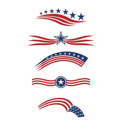 Illustration for USA star flag stripes design elements vector icons - Royalty Free Image