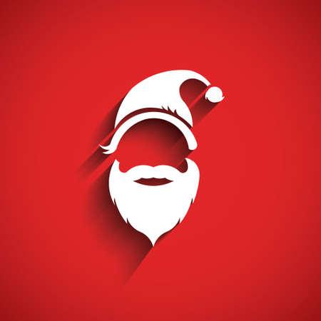 Illustration pour Santa hat, moustache with beard.3D Paper style - image libre de droit