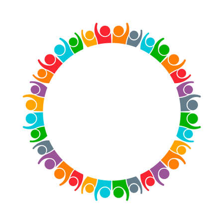Illustration pour People Group Working Together Logo. Vector graphic design illustration - image libre de droit