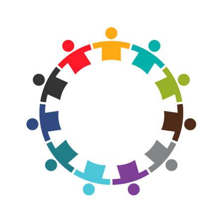 Ilustración de Team of Eleven People in a Round.Logo Design - Imagen libre de derechos