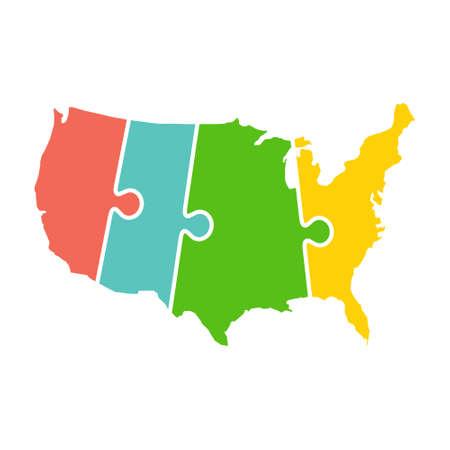 Illustration pour United States Map Time Zones Puzzle - image libre de droit