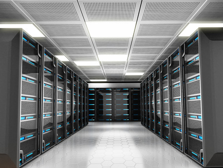 Foto de Network server room with high technology equipment - Imagen libre de derechos