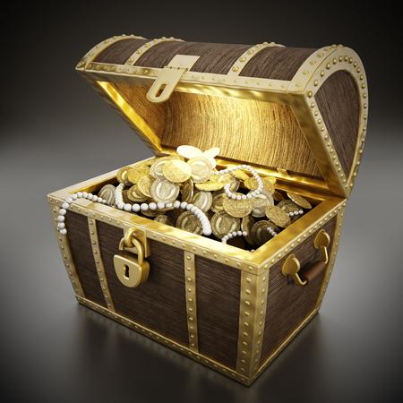 Photo pour Glowing treasure chest full of treasures - image libre de droit