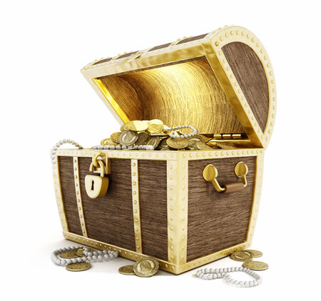 Photo pour Treasure Chest full of gold coins  isolated on white background  - image libre de droit