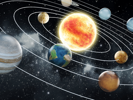 Solar system with eight planets  mural