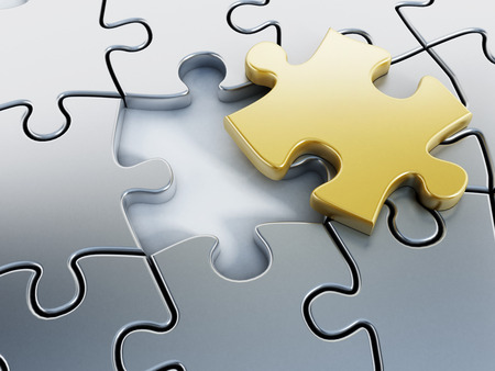 Photo pour Missing gold puzzle piece on puzzle parts. - image libre de droit
