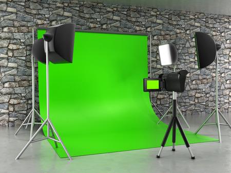 Photo pour Greenscreen studio setup - image libre de droit
