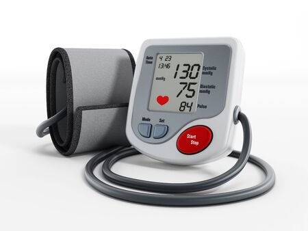 Foto per Digital blood pressure monitor isolated on white background - Immagine Royalty Free