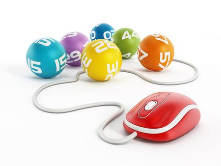 Foto de Internet lottery concept with computer mouse connected to lottery balls - Imagen libre de derechos
