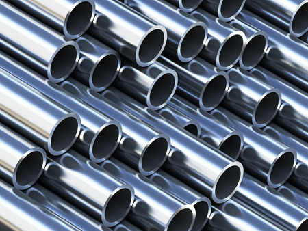 Foto de Steel tubes stack with reflection - Imagen libre de derechos