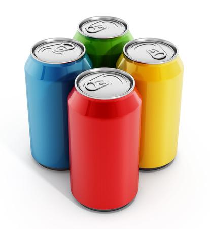 Foto de Colorful soda cans isolated on white background - Imagen libre de derechos