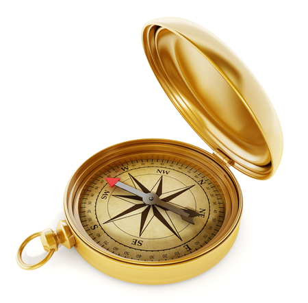 Photo for Vintage compass standing on old world map - Royalty Free Image