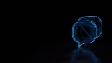 Photo pour 3d techno neon blue glowing wireframe with glitches symbol of communication chat 16 isolated on black background with distorted reflection on floor - image libre de droit
