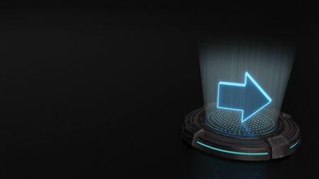 Photo pour blue stripes digital laser 3d hologram symbol of right arrow render on old metal sci-fi pad background - image libre de droit