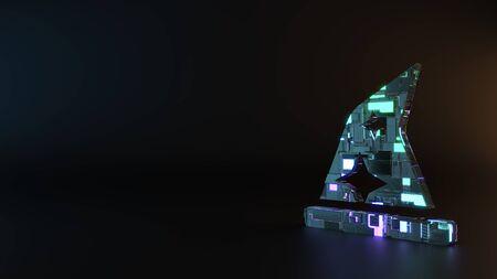 Foto de science fiction metal neon blue violet glowing symbol of wizard´s hat with stars render machinery with blurry reflection on floor - Imagen libre de derechos