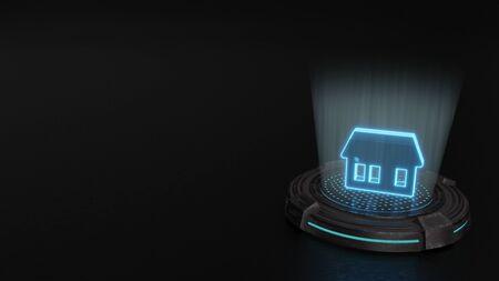 Photo pour blue stripes digital laser 3d hologram symbol of house with three big windows render on old metal sci-fi pad background - image libre de droit