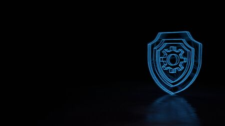 Photo pour 3d techno neon blue glowing wireframe with glitches symbol of shield with cogwheel inside isolated on black background with distorted reflection on floor - image libre de droit