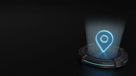 Photo pour blue stripes digital laser 3d hologram symbol of map placeholder render on old metal sci-fi pad background - image libre de droit
