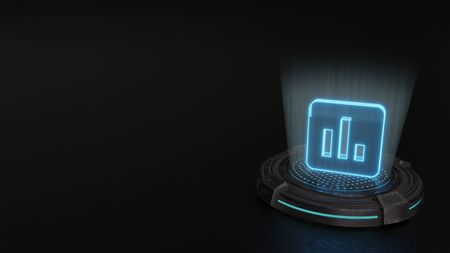 Photo pour blue stripes digital laser 3d hologram symbol of rounded square app icon with three vertical graph bars render on old metal sci-fi pad background - image libre de droit