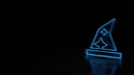 Foto de 3d techno neon blue glowing wireframe with glitches symbol of wizard´s hat with stars isolated on black background with distorted reflection on floor - Imagen libre de derechos