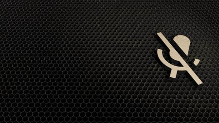 Photo for laser cut plywood 3d symbol of microphone with slash render on metal honeycomb inside laser engraving machine background - Royalty Free Image