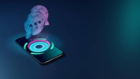 Photo for 3D rendering smartphone with display emitting neon violet pink blue holographic symbol of two rounded chat bubbles with three dots icon on dark background with blurred reflection - Royalty Free Image