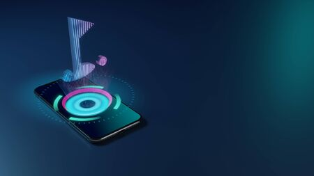 Photo for 3D rendering smartphone with display emitting neon violet pink blue holographic symbol of golf hole with flag and ball icon on dark background with blurred reflection - Royalty Free Image