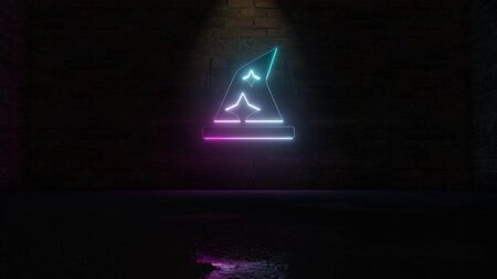 Foto de 3D rendering of blue violet neon symbol of wizard´s hat with stars on dark brick wall background with wet blurred reflection - Imagen libre de derechos