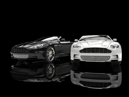 Photo for Black and white modern sports luxury cars - Royalty Free Image
