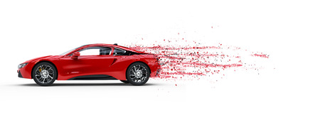 Photo pour Red sports car - paint peeling off - 3D Illustration - image libre de droit