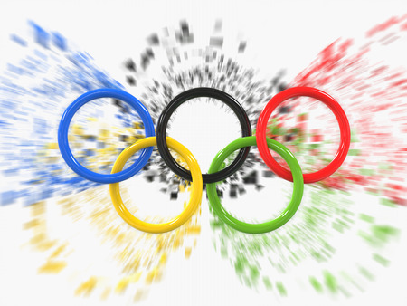 Photo for Olympic games rings - zoom pixel effect - 3D Illustration - Royalty Free Image