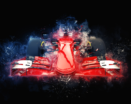 Photo for Red formula one car - modern trash style illustration - Royalty Free Image