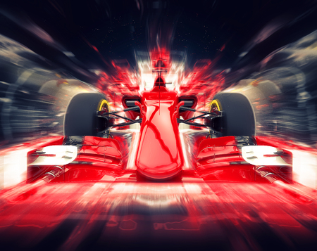 Photo pour Red formula one car - colorful super zoom effect - image libre de droit