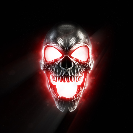 Photo pour Screaming metal skull glowing red eyes and mouth - image libre de droit