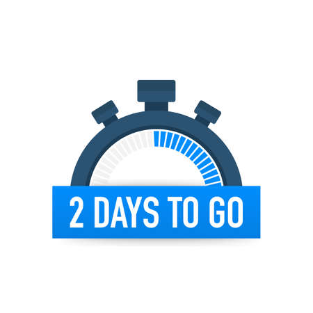 Ilustración de Two days to go. Time icon. Vector stock illustration on white background. - Imagen libre de derechos