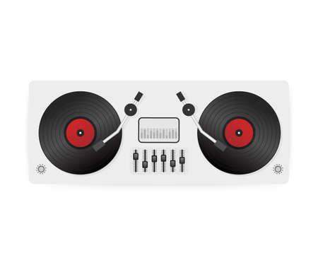 Illustration pour DJ playing vinyl. Top view. DJ Interface workspace mixer console turntables. Vector stock illustration. - image libre de droit