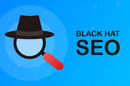 Illustration pour Black hat seo banner. Magnifier, and other search engine optimization tools and tactics. Vector stock illustration. - image libre de droit