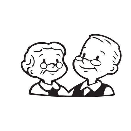 Illustration for Happy old couple of frame on white background - Royalty Free Image