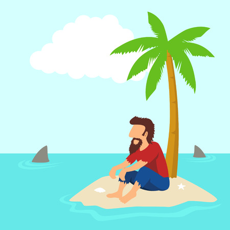 Illustration for Simple cartoon of a man figure isolated on an island - Royalty Free Image