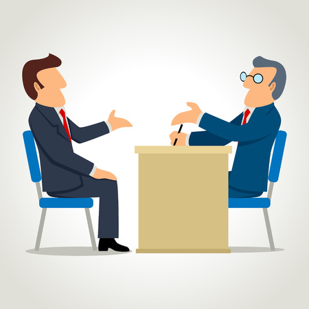 Illustration pour Simple cartoon of a man being interviewed - image libre de droit