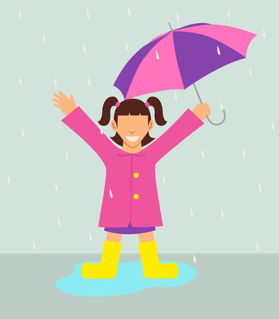Simple cartoon of a girl with umbrella standing in the rain
