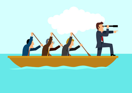 Illustration pour Simple cartoon of businessmen rowing the boat, teamwork, success, leadership concept - image libre de droit