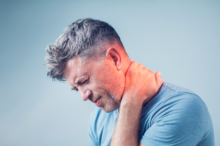 Photo for Young man suffering from neck pain. Headache pain. - Royalty Free Image