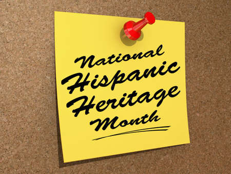 Photo for A note pinned to a cork board with the text  National Hispanic Heritage Month   - Royalty Free Image