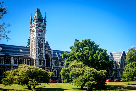 Photo for University of Otago - tower and garden, Dunedin, New Zealand - Royalty Free Image