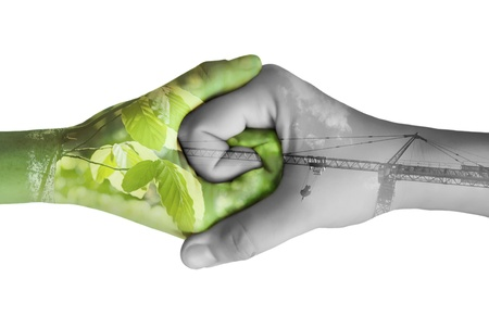 Two hands ecology. Isolated on white background. Nature and industry
