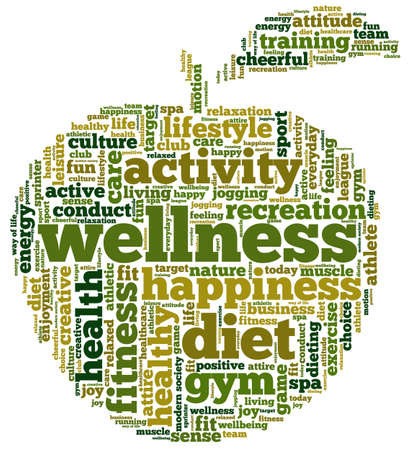 Foto per Conceptual illustration of tag cloud containing words related to diet, wellness, fitness and healthy lifestyle in the shape of an apple. - Immagine Royalty Free