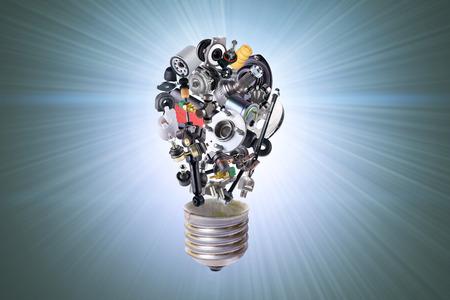 Foto de Electric bulb with spare parts for car - Imagen libre de derechos
